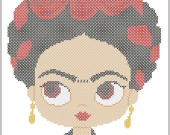 BOGO FREE! Frida Kahlo  Modern original cross stitch pattern pdf instant download #252