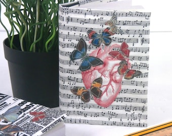 Fabric covered notebook-anatomical heart-butterflies-vintage-botanical