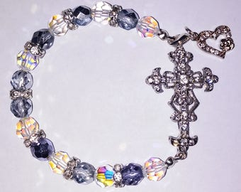 Religious Christian Jewelry Cross Heart Bracelet Religious Jewelry Christian Bling  341n2