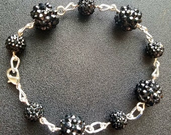 Black rhinestone beaded bracelet