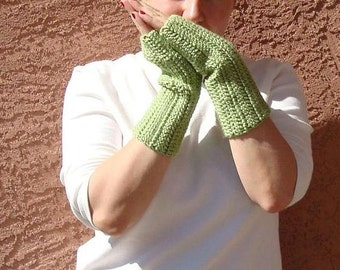 Pistachio Green Fingerless Gloves for Men or Women - Hoooked Crochet Arm Warmers, Fingerless Mittens, Wrist Warmers, Mitts - Ready To Ship