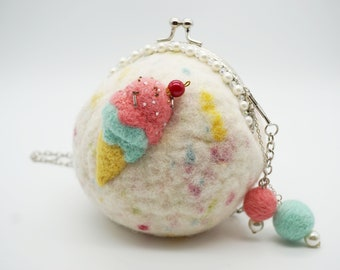 MADE TO ORDER- Felt wool Summer Ice cream Handbag