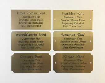 """2""""x4"""" Engraved Brushed Brass Plate Black Etched Letters Custom Personalized Plaque Adhesive Backing Gift Label Sign Trophy Award Taxidermy"""