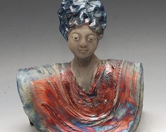 Zen Sculpture Buddha Statue Goddess Female With Blue Hair in Raku Ceramics by Anita Feng