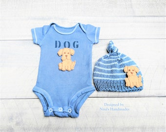 Baby Boy Golden Retriever inspired Hand Dyed Denim Bodysuit and Knotted Hat set, Dog Baby Apparel, Dog baby nursery set, baby shower gift
