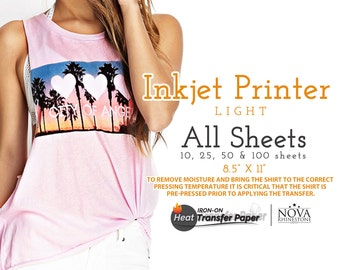 "Inkjet Iron-On Heat Transfer Paper, For Light fabric, 8.5"" x 11"" Choose from 10, 25, 50, or 100 Sheets"