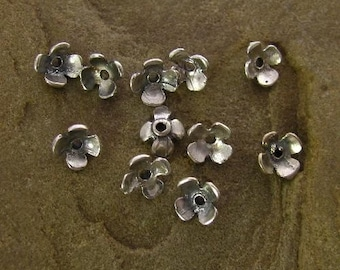 6 Teeny Tiny Rustic STERLING SILVER Blossom Bead Caps -  5mm - MB42