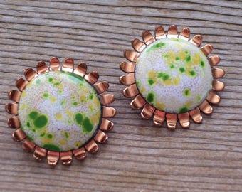 Matisse Earrings, Vintage MATISSE RENOIR Enamel Copper Clip Earrings, Green Yellow Enamel Earrings, Modernist Copper Earrings, MCM Copper
