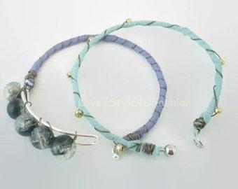 Bangle Set, Arm Candy Fashion, Agate Stones Bangle, Bangle Bracelets, Silk Wrapped Bangle, Silver Wire Bangles, Bracelets, Bangles