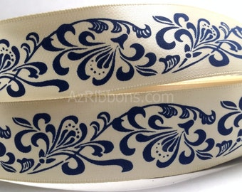 "Navy Blue Floral Design Pattern Satin Ribbon 1"" Wide Scrapbook HairBows Parties DIY Projects 230"