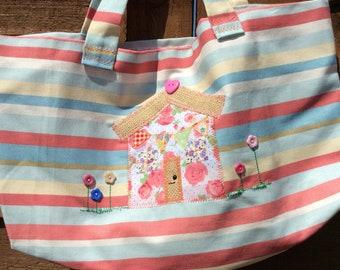 Handmade linen striped tote bag