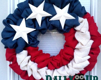 4th of July Burlap Wreath - Red, White  and Blue Burlap Wreath, Burlap Wreath, Patriotic Wreath, Flag Wreath , Independence Day Wreath