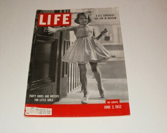 Vintage Life Magazine June 2 1952 - Party Shoes and Dresses Cover - Art Vintage Ads Scrapbooking Collectible