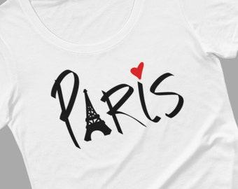 Paris-t-shirt für Frauen, schwarzen oder weißen t-Stück, Eiffelturm, Herz, ich liebe Paris, Handrawn von Felicia Stevenson