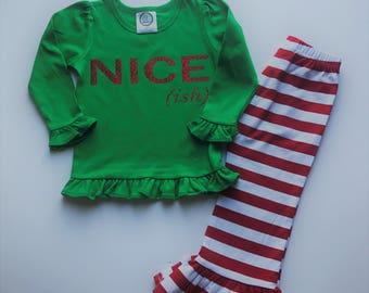 Nice (ish) Christmas Outfit   Baby Girl Chrismas Outfit   Toddler Girl   Christmas Outfit   Toddler Girl