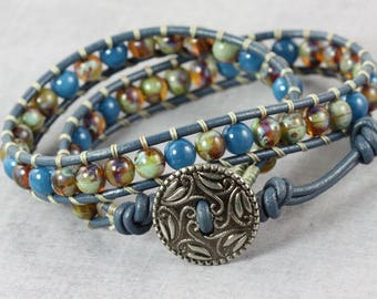 Valentines Day Gift for Her Blue Wrap Bracelet Valentine Jewelry Sage Green Czech Glass Bracelet Leather Jewelry Gift for Mom or Girlfriend