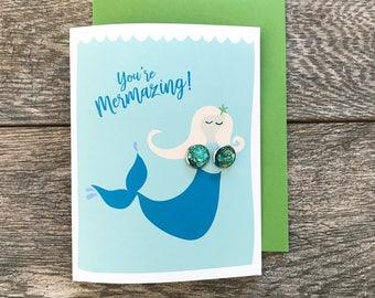 Mermaid Earrings, Aqua Glitter, Mermaid, Sparkle Earrings, Seaside, Beach, Nautical, Ocean, Post Earrings, Turquoise, Glitter, Shimmer