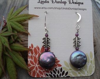 Gray Coin Pearl Dangle Earring with tini Garnets