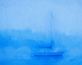 Sailboat decor, Nautical Art, Landscape Decor, Home Decor, Large Wall Art, Minimal, Blue, Fog, Quiet Moment