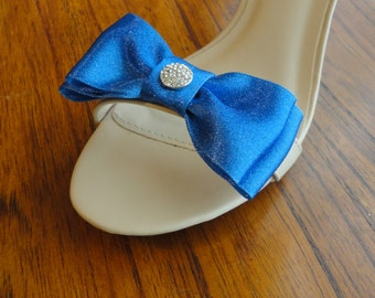 Blue Glitter Satin Ribbon Bow And Rhinestone Shoe Clips Set Of Two