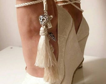 İvory Lace Wedding Wedges, Wedges with Tassels,Ivory Wedges