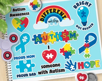 Autism Awareness Clipart, Autism Stickers, Special needs, Autistic, Autism Spectrum Ribbon, Commercial Use, Vector clip art, SVG Files