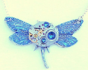Blue Dragonfly Steampunk Necklace,Vintage Watch Movement,17 Ruby Jeweled, Watch Works, Swarovski Crystals, Edwardian Fantasy, OOAK