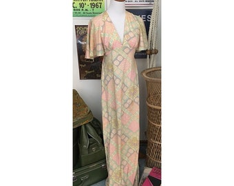 """Vintage 70's """"Young Edwardian by Arpeja"""" Pastel printed open back flutter sleeve maxi dress   """