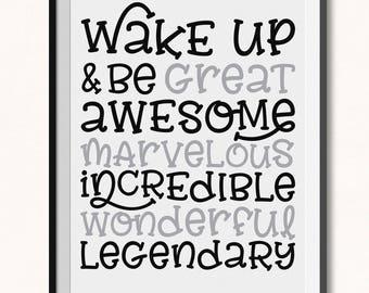 Wake Up and Be Awesome Printable / Wake Up and Be Awesome Print / DIGITAL / Monochrome Print / Boys Room Print / Kids Motivational Print