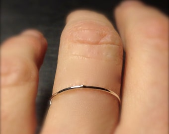 In Stock Ready to Ship- 0.8mm 14k YELLOW gold band in Sizes: 4, 4.25, 4.5, 5.75, 6 & 6.25 -Super ultra thin skinny delicate handmade ring