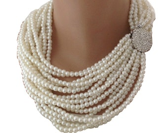 Statement Pearl Necklace,Multi Strands Wedding Pearl Necklace ,Rhinestone Brooch