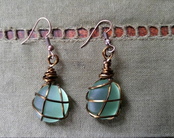 Sea glass bead earrings