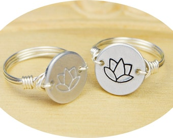 Yoga Lotus Flower Ring-Hand Stamped Silver, Yellow, OR Rose Gold Filled Wire Wrapped Ring- Any Size 4, 5, 6, 7, 8, 9, 10, 11, 12, 13, 14
