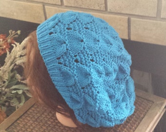 Summer Lace Beret - Turquoise