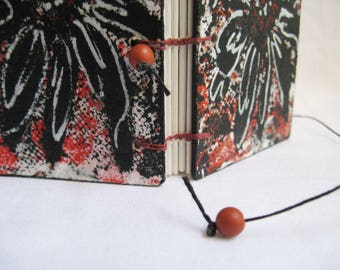 Mini Book with red, black and white painted cover, OOAK, artists book, little handmade notebook