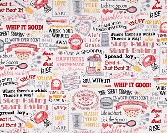 Baking Words ~ Timeless Treasures Collection, Cotton Quilt Fabric