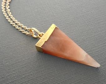 Aventurine Triangle Pendant Necklace / Yellow Aventurine Necklace / Triangle Stone Necklace / Yellow Orange Stone Triangle // GP45
