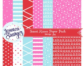 INSTANT DOWNLOAD, Valentines Day Digital Papers by Jessica Sawyer Design