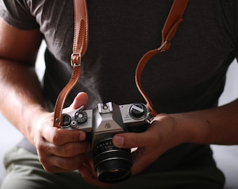 Leather Camera Strap - Adjustable DSLR Leather Strap with Felt lining, DSLR Camera Strap