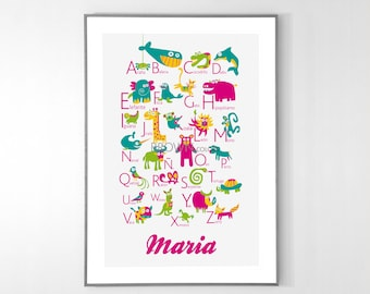 Personalized SPANISH Alphabet Poster with animals from A to Z, BIG POSTER 13x19 inches