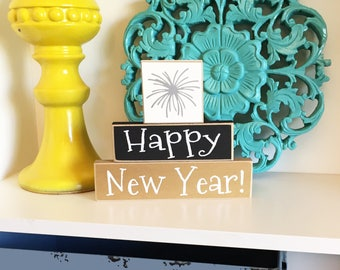 Happy New Year Stackers- New Years Decor, New Years Eve Decor, Silver & Gold New Year, New Years Blocks, New Years Eve Sign,