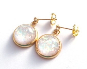 Shimmering Opal Earrings, Matte Gold, Faux Opal Cabochons, Gold Opal Earrings, Stud and Drop Earrings, October Birthstone
