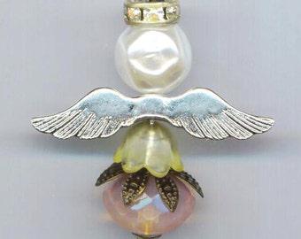 Angel pendant, peach Opal faceted briolette, October birthstone gem, birthstone angel, communion angel, glass briolette, opal angel pendant