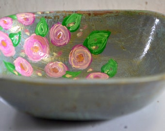 hand painted jewelry Dish made of repurposed wood bowl, ring dish, ring bowl, jewelry bowl