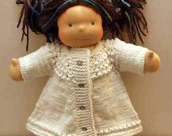 "Doll Swing Coat Knitting Pattern for 15"" Dolls"