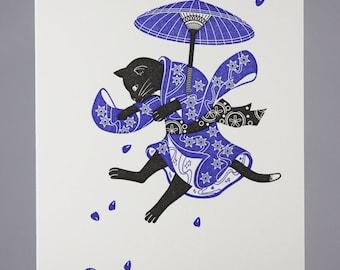 Letterpress Umbrella Cat Card | Blank Greeting Card