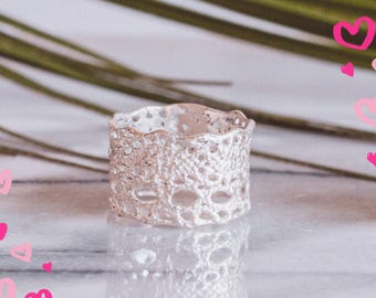 Lilibet Lace ring in sterling silver-featured at Anthropologie- wide lace ring, boho lace ring, wide silver ring