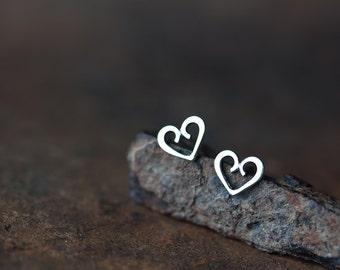Tiny Heart Stud Earrings, 925 sterling silver heart earrings, small heart earrings, romantic valentine gift for her