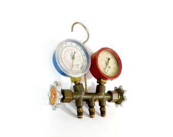 Vintage Brass Torch Regulator Gauge, Industrial Gauges, Steampunk Style Decor, Decorative Only