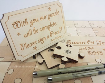 Wedding Puzzle Convience Kit - Engraved Sign for Wedding Guest Book Puzzle, Custom Engraving, Puzzle Sign, Pens for Signing a Wedding Puzzle